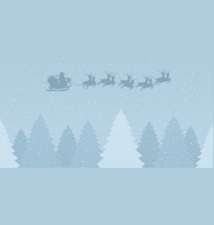 santa claus on sleigh with reindeers on a snowy vector image