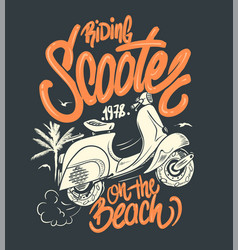 scooter on beach hand drawn t-shirt print vector image