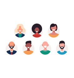 set avatars happy people different races vector image