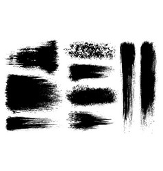 set grunge artistic brush strokes vector image