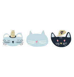 set of 3 cats in scandinavian vector image