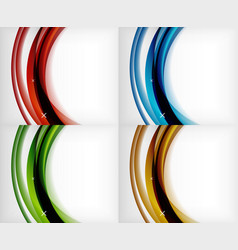 Set of glossy glass waves abstract vector