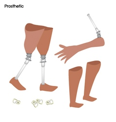 Set of Prosthetic Leg Knee and Arm vector