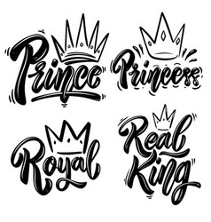 set royal lettering prince princess king vector image