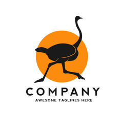 silhouette a running ostrich with circle color vector image