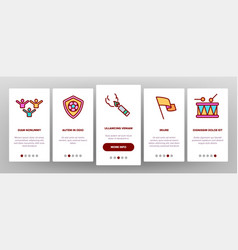 Soccer fan equipment onboarding icons set vector