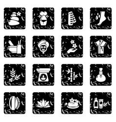 Spa salon icons set grunge vector