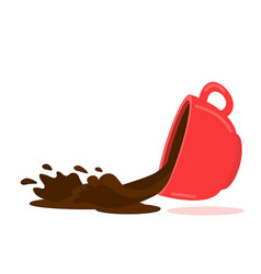 Spilled coffee red cup concept vector