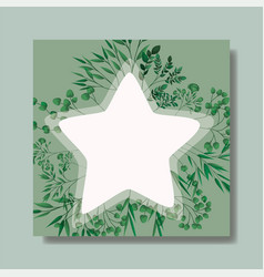 star frame with laurel leafs vector image