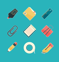 stationery icon set pencil eraser pen paperclip vector image