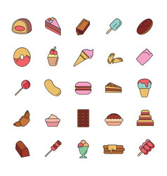 sweets icons set vector image