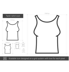 Tank t-shirt line icon vector
