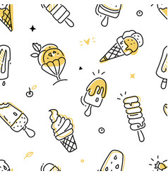 tasty ice cream - colorful line design style vector image