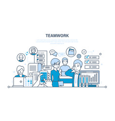 teamwork communication dialogues workflow space vector image