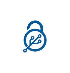 Tech security logo icon design vector