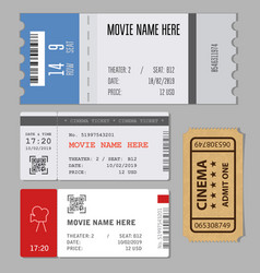 Templates of modern tickets for cinema or concert vector