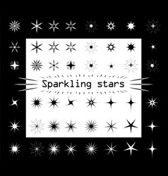 the stars sparkle on a white and black vector image