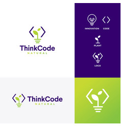 Think code bulb innovation smart logo icon vector