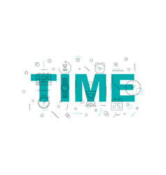 time banner word with line icon vector image