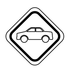 Traffic signal with car vehicle isolated icon vector
