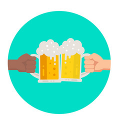 Two hands holding beer glasses with foam vector