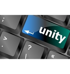 Unity word on computer keyboard pc key vector