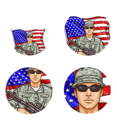 us flag soldier pop art avatar icons vector image