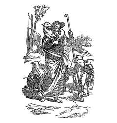 vintage drawing biblical story jesus vector image