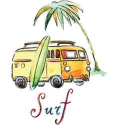 Watercolor surfing car vector