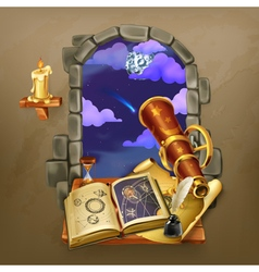 Window in the castle magic and astrology vector image