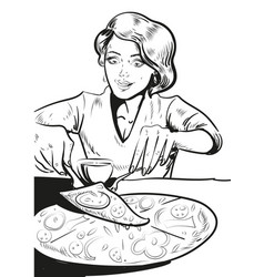 woman eating pizza at home in vector image