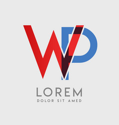wp logo letters with blue and red gradation vector image