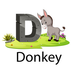 zoo animal alphabet d for donkey vector image