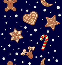 christmas cookies seamless pattern vector image vector image