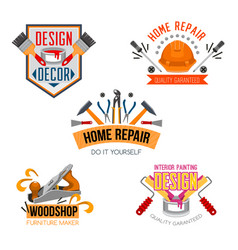 icons of work tools for house repair vector image vector image