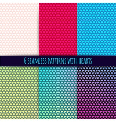 6 seamless patterns with hearts easy tiling Can be vector image vector image