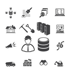 big data icons set data mining concept vector image vector image
