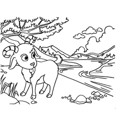 Goat coloring pages vector