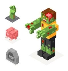 Halloween Zombie Icons Set Grave Hand Brain Trick vector image