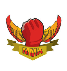 mma logo fighting glove emblem for sports team vector image