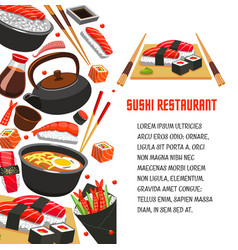 sushi restaurant poster for japanese food design vector image