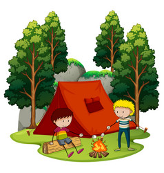 two boys camping in the forest vector image