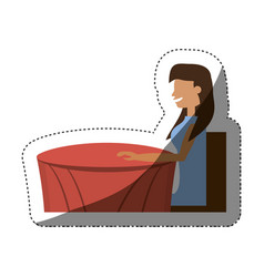 woman sitting dating shadow vector image