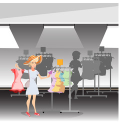 beauty woman with clothing in store vector image