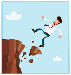 businessman falling from the side of cliff prev vector image vector image