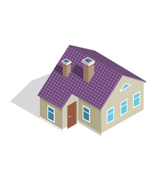 cottage two-storey house with roof entrance door vector image vector image