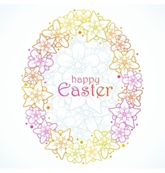 floral greeting card of easter egg vector image vector image