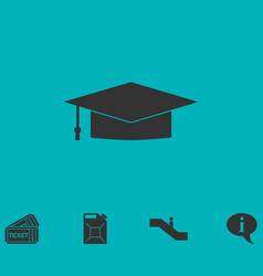 graduation cap icon flat vector image