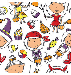 happy girls in halloween suits with sweets vector image vector image