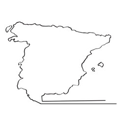 map of spain continous line vector image